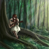 Girl_playing_guitar_in_a_fores_by_Shirt_less